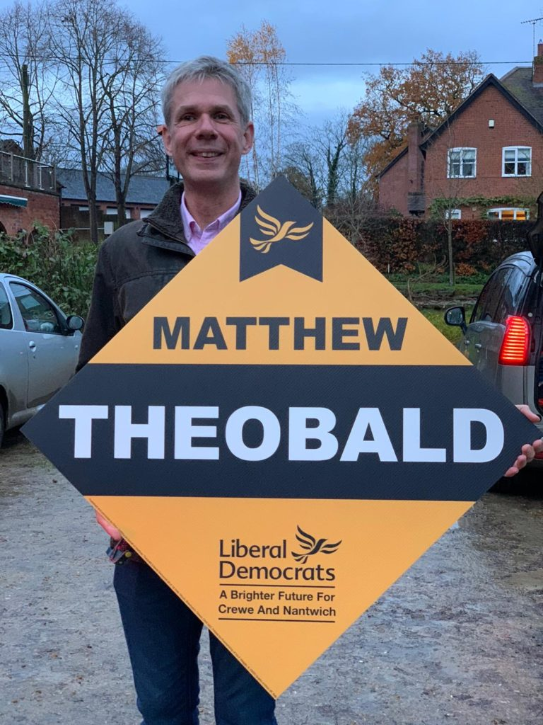 Matthew Theobald with Lib Dem Diamond